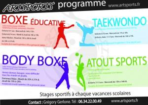 Rentrée Art'Sports «Inscription dès le 9/09 et Reprise le 16/09″ (cours d'essai jusqu'à fin Septembre)