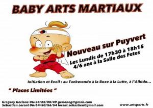 Nouveauté Baby Arts Martiaux Les lundis  à 17h30 dès 4 ans Sur Puyvert…