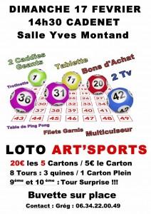 GRAND LOTO d'Art'Sports DIMANCHE 17 FÉVRIER 2019 14h30 «Salle de Fêtes de Cadenet»